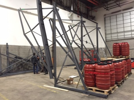 Le mur d'escalade en acier pour le Championnat du Monde 2015 à Toronto. Il s'agit d'une structure en acier démontable. Structural steel frame for a climbing wall for the 2015 World Championships in Toronto.