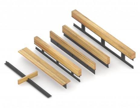Rendu montrant le renforcement en acier d'une structure en bois au Centre de Céramique Bonsecours, Montréal. Render of the steel reinforcement of a wood structure.