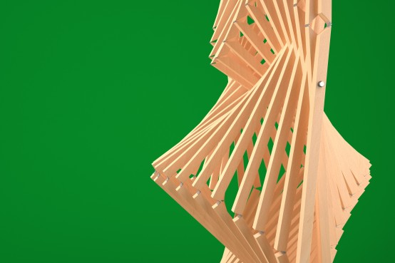 Conception paramétrique d'une structure auto-portante en bois avec le logiciel Rhino et Grasshopper. Parametric design of a self-supporting wood structure using Rhino and Grasshopper.