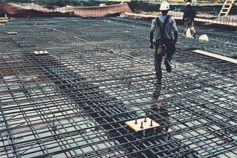 Armature des dalles structurelles pour le projet DUC 2, Montréal. Structural slab reinforcement.