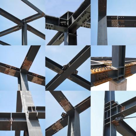 Vues de différentes connexions en acier de charpente. Gallery of structural steel connection details.