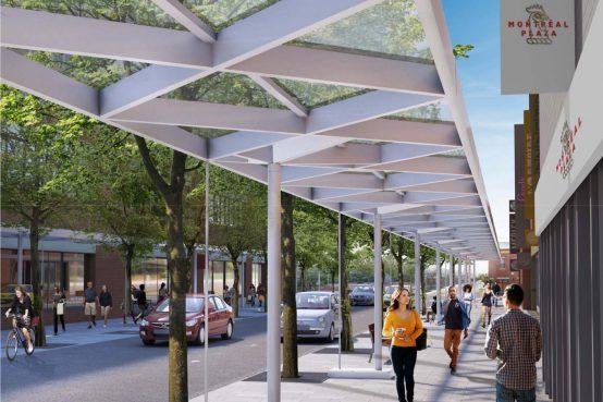 Concept pour la nouvelle marquise de la Plaza St-Hubert par Chevalier Morales et Latéral.