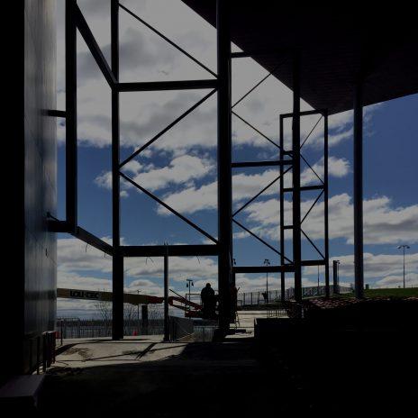 Pare-intempéries à l'Amphithéâtre de Trois-Rivières (Cogeco). En construction.