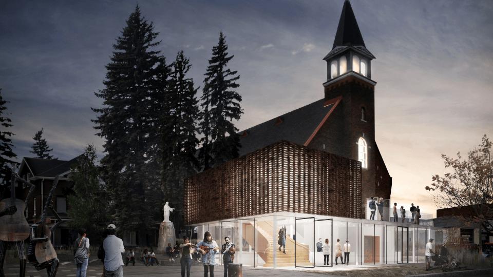 Concours Agora des Arts, Rouyn-Noranda. Lauréat avec Chevalier Morales Architectes.