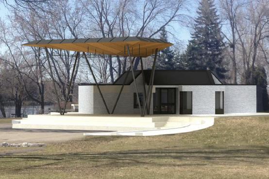Scène extérieure et pavillon du Parc Aimé-Léonard, Montréal. Exterior stage and pavillion, Montreal.