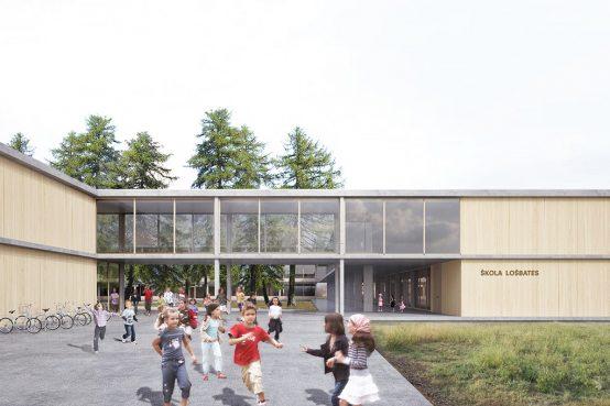 École LOŠBATES, République Tchèque. Nouvelle école avec les architectes Pelletier de Fontenay.