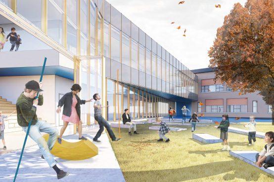 Concours Lab-école Gatineau. Construction d'une école primaire en bois.