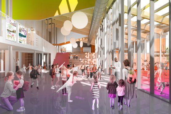 Concours Lab-école Rimouski. Construction d'une école primaire en bois.