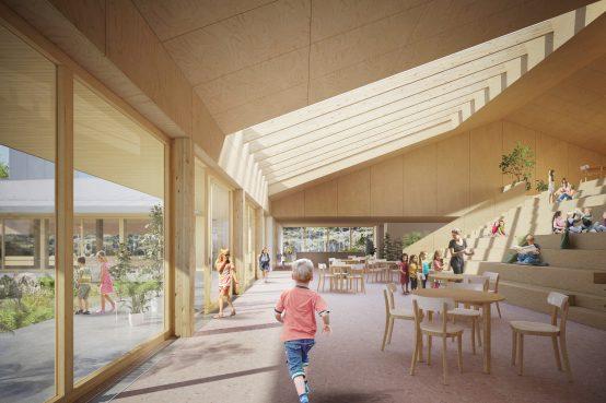 Concours Lab-école Shefford. Construction d'une école primaire en bois.