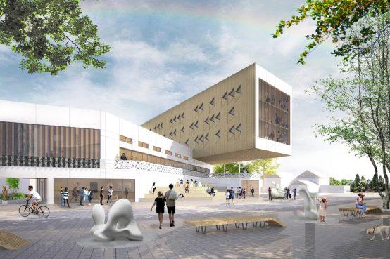 Les Ateliers du Ruisseau, Gatineau. Conception d'une structure en bois de six étages pour des ateliers d'artistes et salles d'exposition.